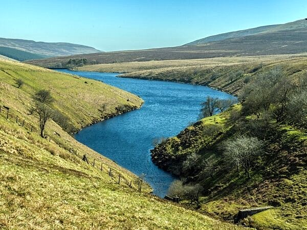 The now disused Grwyne Fawr Reservoir hidden in the Black Mounta