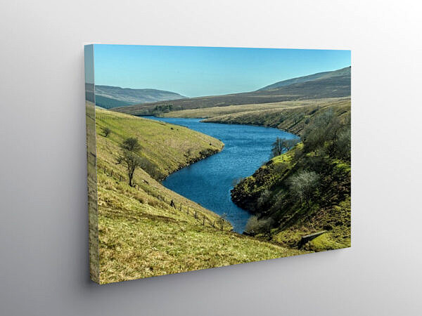 The defunct Grwyne Fawr Reservoir in the Black Mountains, Canvas Print