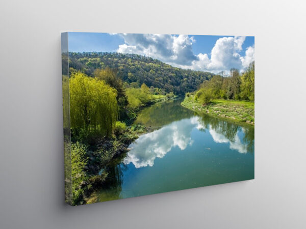 River Wye from Brockweir Bridge Wye Valley, Canvas Print
