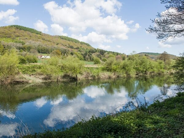 The River Wye with cloud reflection near Bigsweir Bridge