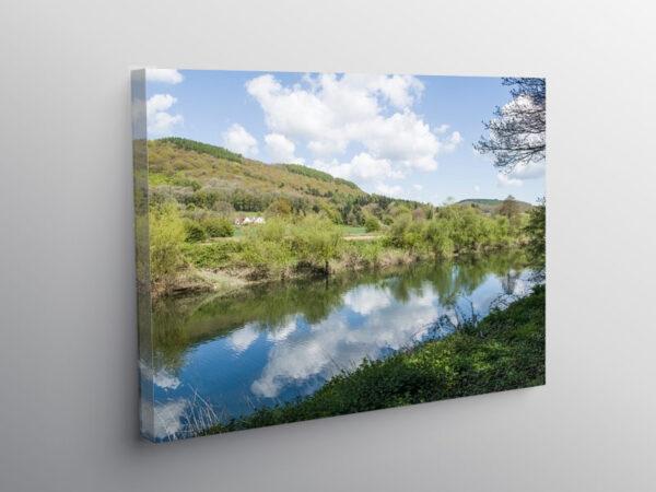 The River Wye with cloud reflection near Bigsweir Bridge, Canvas Print