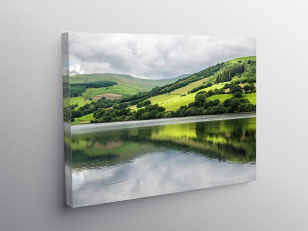Talybont Reservoir and Reflections Brecon Beacons, Canvas Print