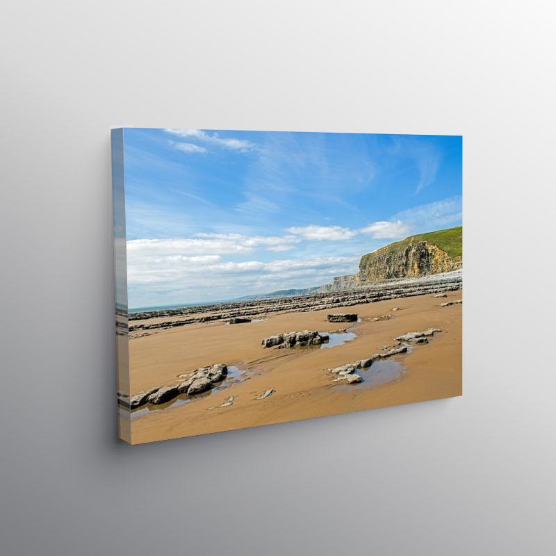 Monk Nash Beach looking West Glamorgan Coast, Canvas Print