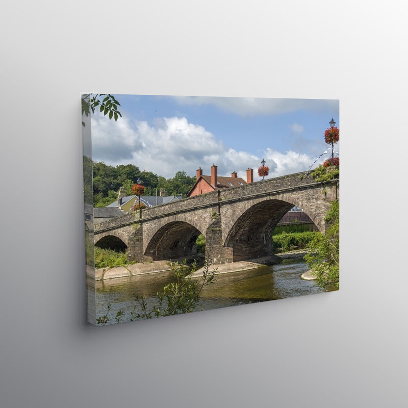 Stone Arched Bridge River Usk at Usk Monmouthshire, Canvas Print