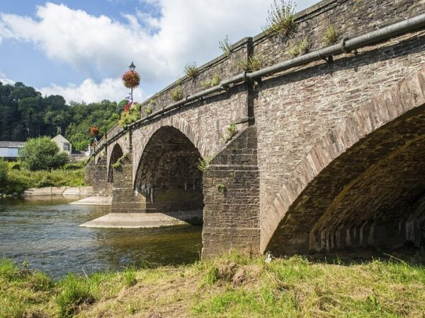 Rhe Usk Bridge crossing the River Usk in Monmouthshire