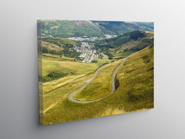 Hairpin Bend Bwlch y Clawdd Rhondda, Canvas Print