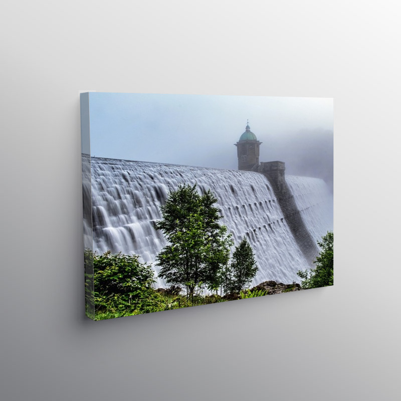Caban Coch Dam Overflowing Elan Valley Wales, Canvas Print